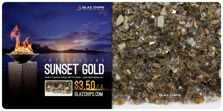 Sunset Gold Fire Glass